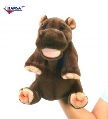 Мягкая игрушка бегемот Hansa Гиппопотам искусственный мех коричневый 24 см 4037