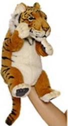 Мягкая игрушка тигр Hansa Тигр, игрушка на руку искусственный мех синтепон рыжий белый 24 см 4039