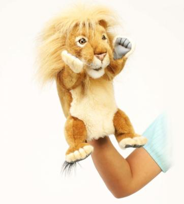 Мягкая игрушка лев Hansa Лев искусственный мех синтепон текстиль рыжий 28 см 4041
