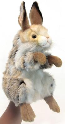 Мягкая игрушка заяц Hansa Заяц пластик текстиль искусственный мех синтепон разноцветный 35 см 6129