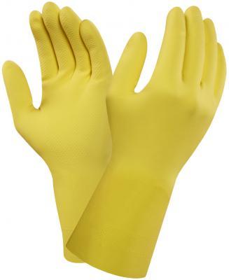 Перчатки хозяйственные VILEDA КОНТРАКТ, резиновые, латекс, желтые, М