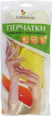 Перчатки хозяйственные EURO HOUSE, латексные, х/б напыление, S 3700 перчатки латексные русский инструмент 67724 х б 13 класс