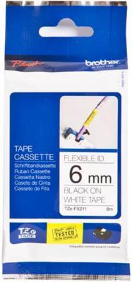 Лента ламинирования Brother TZE-FX211 6ммх8м черный на белом brother tze325 black white лента для матричного принтера 9 мм