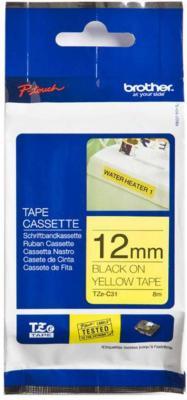 Лента ламинирования Brother TZe-C31 12ммх5м черный на флуоресцентном желтом brother tze325 black white лента для матричного принтера 9 мм