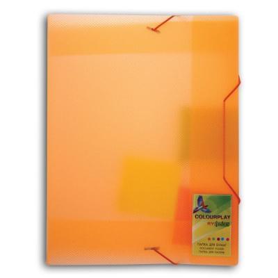 Папка на резинках COLOURPLAY, ф.A4, прозрачная ассорти 0,7 мм, корешок 30мм ICPF333 точилка index ish001 пластик ассорти