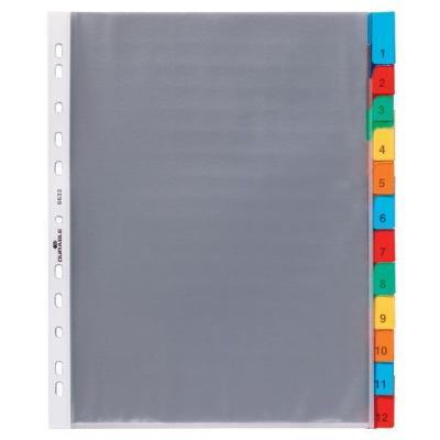 Durable Вкладыш с разделителями пластиковыми 12 цв., со сменными ярлычками 6633-19 6633-19