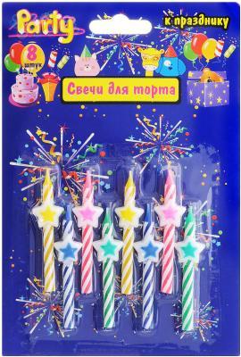 Набор свечей Action! ЗВЕЗДОЧКА 6 см 8 шт API0304 набор свечей action элегантные 16 см 24 шт api0308