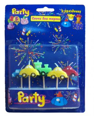 Набор свечей Action! МАШИНКИ 17 см 5 шт API0313 набор свечей action элегантные 16 см 24 шт api0308