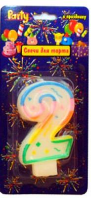 Купить Свеча Action! нумерологическая 2 7 см API0316-2, Сервировка стола и свечи
