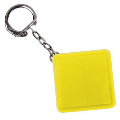 Брелок-рулетка квадратный, пластик, желтый Lbr10478/Ж
