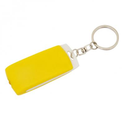Брелок-фонарик, белое основание, желтый корпус, индивид. стикер Lbf1302WH/YL