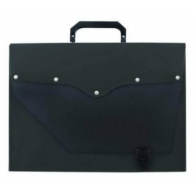 Папка-портфель без отделений, А4, черная с серебристым клапаном IEF50/BK