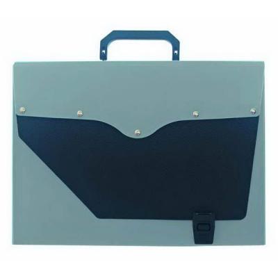 Папка-портфель без отделений, А4, серебряная с черным клапаном IEF50/SL цена