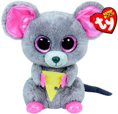 Мягкая игрушка мышь TY Мышонок Squeaker с кусочком сыра текстиль плюш серый 15 см 0008421361922