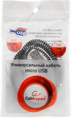 Кабель microUSB 1м Cablexpert круглый CC-mUSB2sr1m от 123.ru