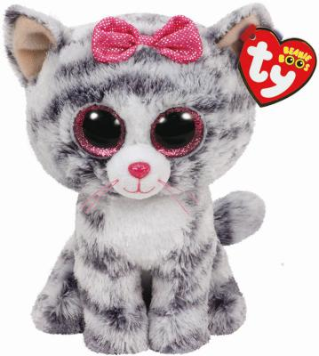 Мягкая игрушка кошка TY Kiki искусственный мех серый 15 см