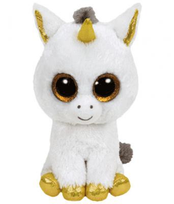 Мягкая игрушка единорог TY Единорог Pegasus искусственный мех текстиль белый 15 см 0008421361793
