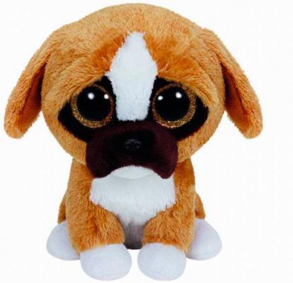 Мягкая игрушка щенок TY Щенок породы боксер Brutus искусственный мех текстиль белый коричневый 15 см 0008421361885