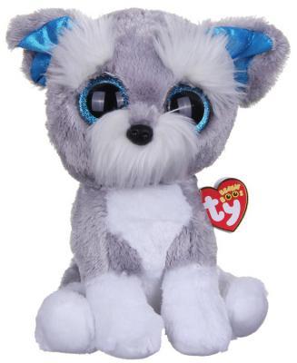 Мягкая игрушка щенок TY Щенок Whiskers искусственный мех серый 25 см 37037