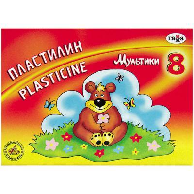 Пластилин МУЛЬТИКИ со стеком, 8 цв., 160 г