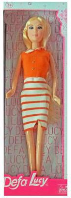 Кукла Defa Lucy Модница в бело-оранжевом платье 8316stripe hot no 1 g7 smart watch heart rate monitor fitness tracker bluetooth smartwatch reloj inteligente for ios apple iphone android