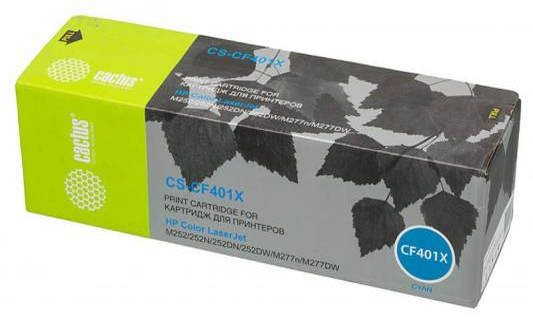 Картридж Cactus CS-CF401X для HP CLJ M252/252N/252DN/252DW/M277n/M277DW голубой 2300стр картридж cactus cs cf403x cf403x magenta для hp clj m252 252n 252dn 252dw m277n m277dw