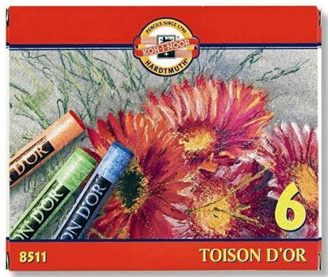 Мелки акварельные TOISON D'OR 6 цветов 8511 карандаши восковые мелки пастель koh i noor мелки масляные 6 цветов