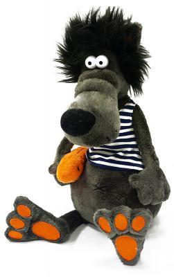 Мягкая игрушка волк MAXITOYS Волчок & Vobla плюш серый 26 см