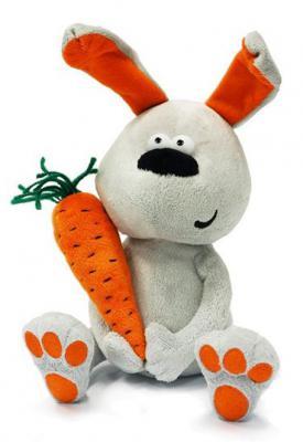 Мягкая игрушка заяц MAXITOYS Заяц & Morkovka плюш белый 22 см 4612735102100
