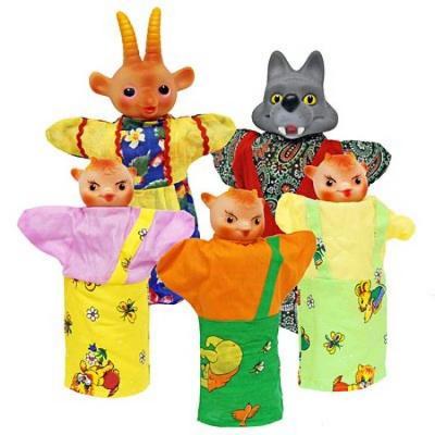 Кукольный театр Русский Стиль Козлята и Волк 5 предметов 11090 русский стиль набор кукольный театр три поросенка 4 персонажа в маленькой коробке 11255н