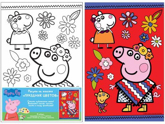 Набор для росписи по холсту РОСМЭН Peppa Pig «Праздник цветов» от 5 лет 30520 набор для росписи по холсту креатто кошечка от 3 лет 30173