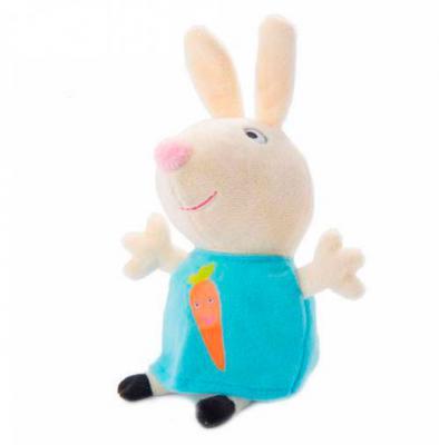 Мягкая игрушка кролик Росмэн Ребекка с морковкой текстиль кремовый голубой 20 см 4680274019364
