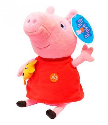 Мягкая игрушка свинка РОСМЭН Пеппа плюш ткань красный розовый 30 см 4680274020469