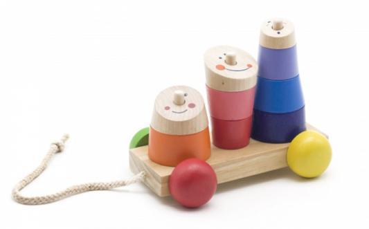 Каталка на шнурке МДИ Д355 разноцветный от 1 года дерево конструкторы мир деревянных игрушек мди ферма