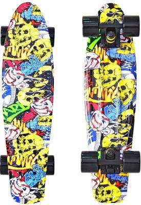 Скейтборд Y-SCOO Fishskateboard Print 22 RT винил 56,6х15 с сумкой Cartoon 401G-C rt 402e g скейтборд big fishskateboard glow 27 винил 68 6х19 с сумкой green green
