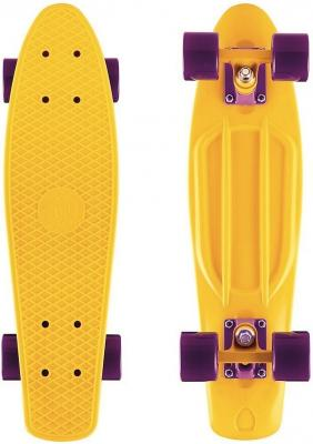 "Скейтборд Y-SCOO Fishskateboard Print 22"" RT винил 56,6х15 с сумкой  YELLOW/dark purple 401-Y"
