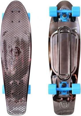 Скейтборд Y-SCOO Big Fishskateboard metallic 27 RT винил 68,6х19 с сумкой BLACK BRONZAT/blue 402H-Bb скейтборд y scoo skateboard fishbone с ручкой 22 rt винил 56 6х15 с сумкой blue black 405 b