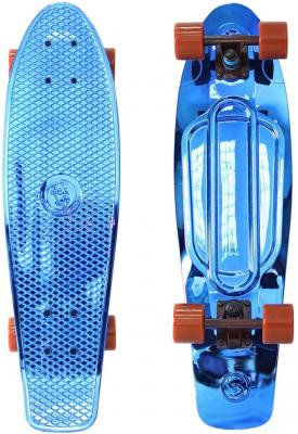 Скейтборд Y-SCOO Big Fishskateboard metallic 27 RT винил 68,6х19 с сумкой BLUE/brown 402H-Bl скейтборд y scoo skateboard fishbone с ручкой 22 rt винил 56 6х15 с сумкой blue black 405 b