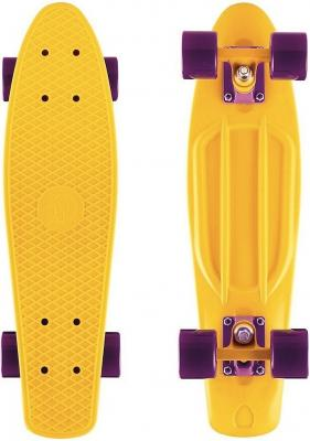 Скейтборд Y-SCOO Big Fishskateboard 27 RT винил 68,6х19 с сумкой YELLOW/dark purple 402-Y rt 402e y скейтборд big fishskateboard glow 27 винил 68 6х19 с сумкой yellow yellow