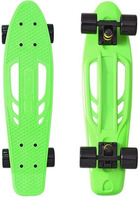 Скейтборд Y-SCOO Skateboard Fishbone с ручкой 22 RT винил 56,6х15 с сумкой GREEN/black 405-G