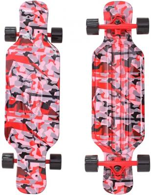 "Скейтборд Y-SCOO Longboard Shark TIR 31"" RT пластик 79х22 с сумкой CHAOS RED/black 408-Ch"