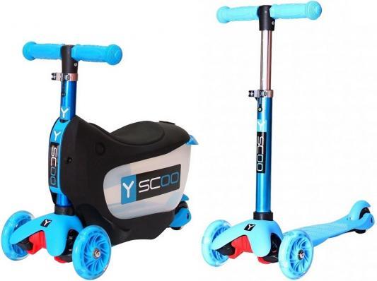 Самокат-каталка Y-SCOO Mini Jump&Go aqua 5/3 голубой со светящимися колесами