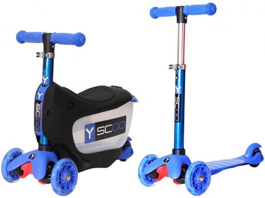 Самокат-каталка Y-SCOO Mini Jump&Go синий со светящимися колесами