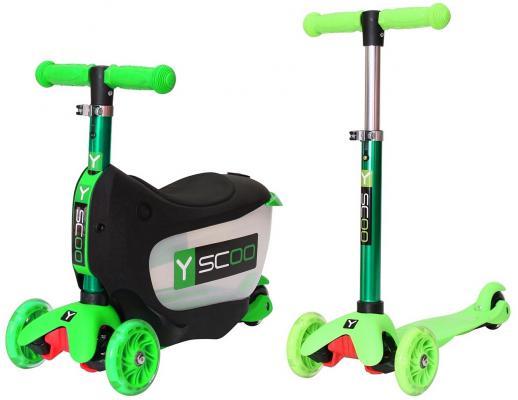 Самокат-каталка Y-SCOO Mini Jump&Go зеленый со светящимися колесами