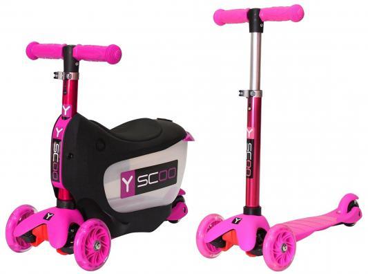 Самокат-каталка Y-SCOO Mini Jump&Go розовый со светящимися колесами