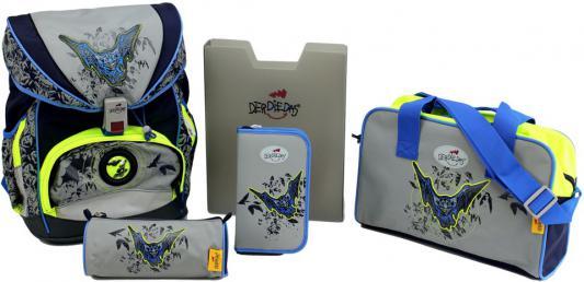 Ранец с наполнением DERDIEDAS ErgoFlex Exklusiv Superflash Летучая Мышь 20.5 л серый синий