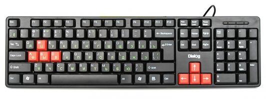 где купить Клавиатура Dialog KS-030U USB черный красный дешево