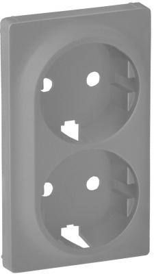Лицевая панель Legrand Valena Life для двойной силовой розетки 2х2К+З алюминий 754952 лицевая панель legrand valena life розетки tv белая 754760