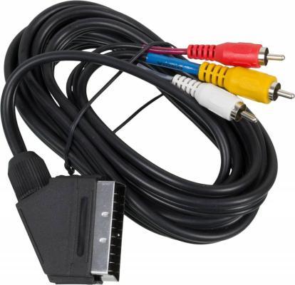 Фото - Кабель соединительный 3.0м Ningbo SCART(m) - 3xRCA(m) JSC005-3 кабель аудио видео ningbo scart m г образный scart m г образный 1м черный