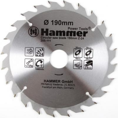 Пильный диск Hammer Flex 205-111 CSB WD 190ммx24x30x20/16мм по дереву 30661